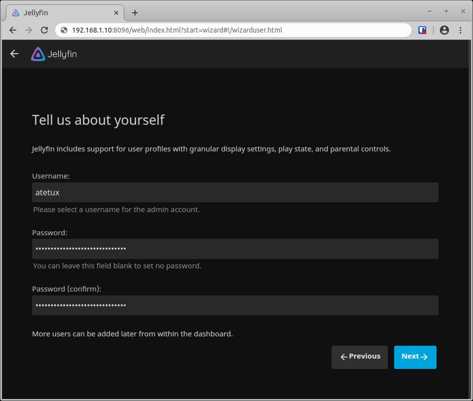 jellyfin web ui create new user