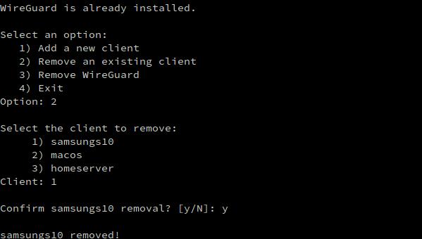 remove wireguard user