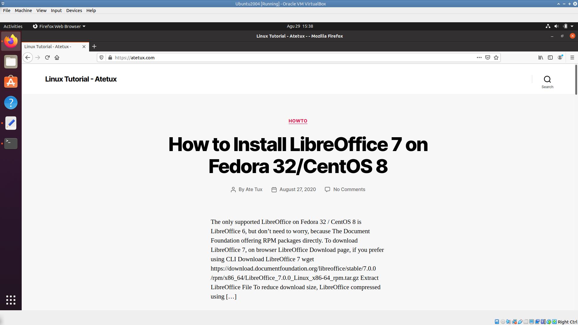 running ubuntu under virtualbox