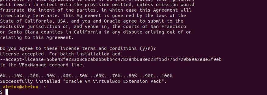 virtualbox ubuntu extention pack installed