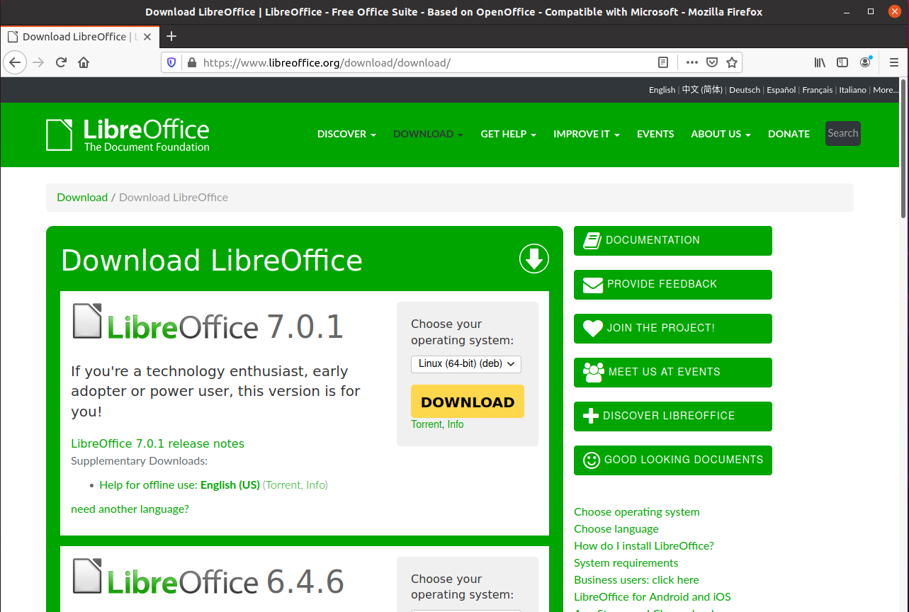 LibreOffice download page
