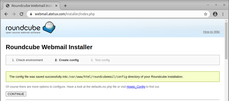 Roundcube installer done