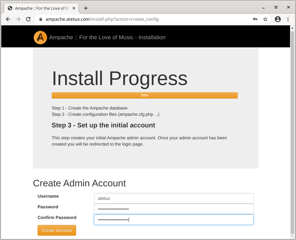 create admin account ampache