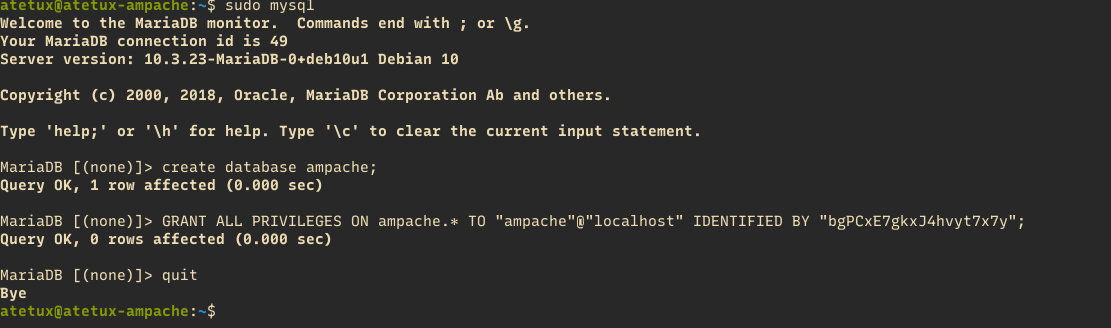 create database and user ampache
