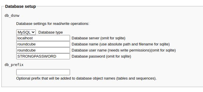 database setup roundcube