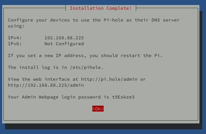 instalation pihole on debian 10 completed