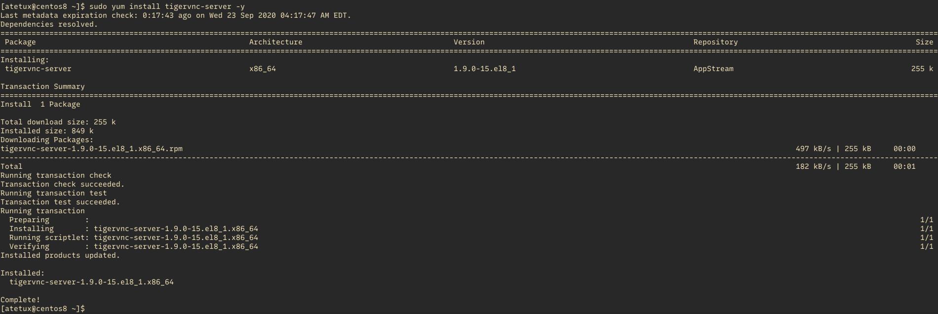 install tigervnc server centos 8