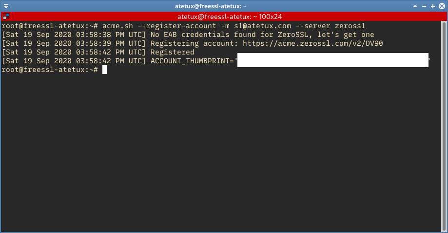 register zerossl account using acme