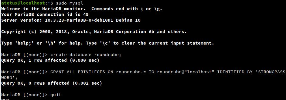 roundcube create database