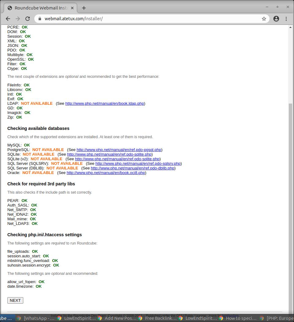 roundcube web installer