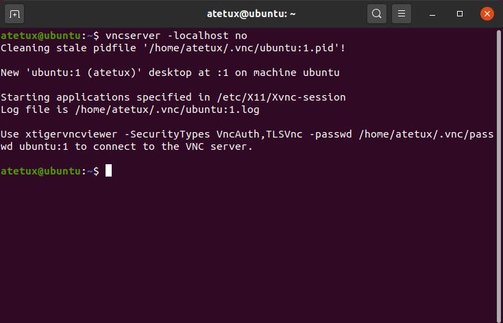 start vncserver ubuntu 20.04