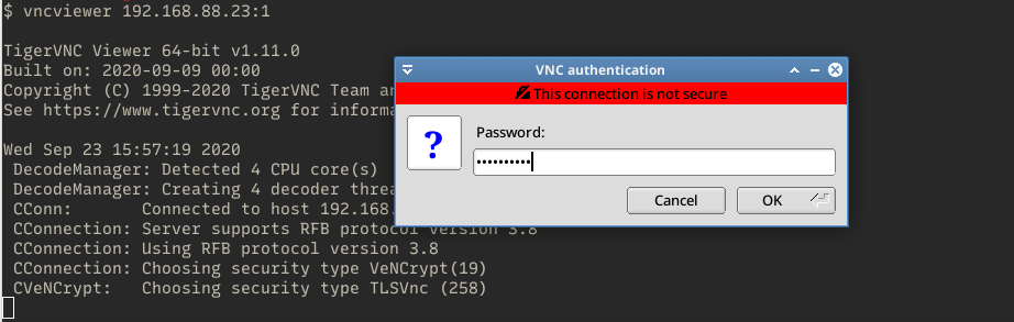 tigervnc client asking for password