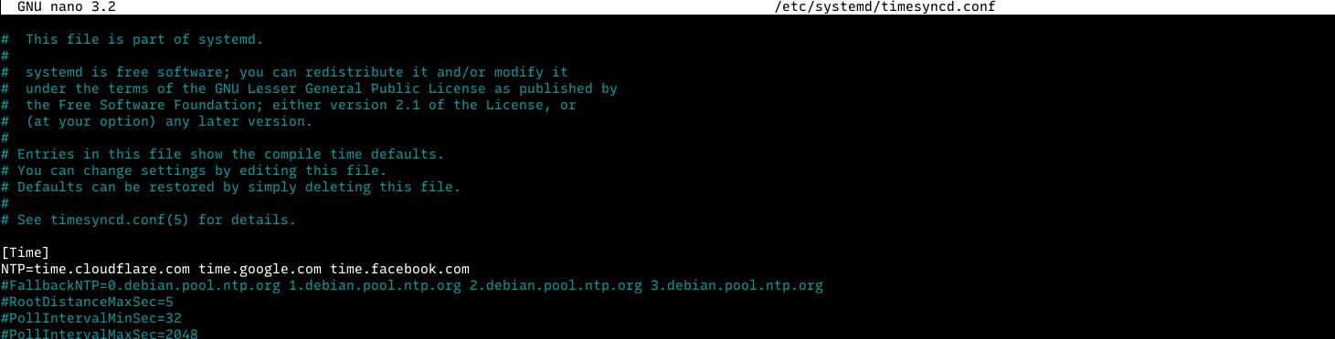 NTP server timedatectl