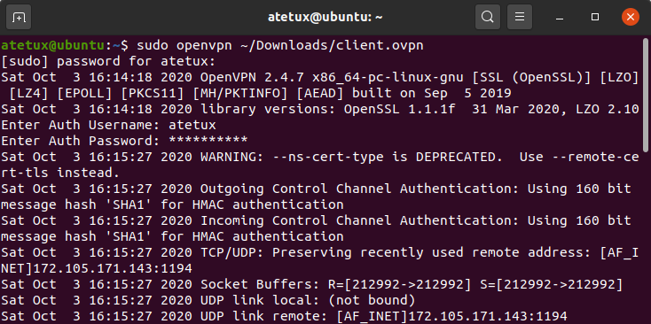 openvpn client user and password