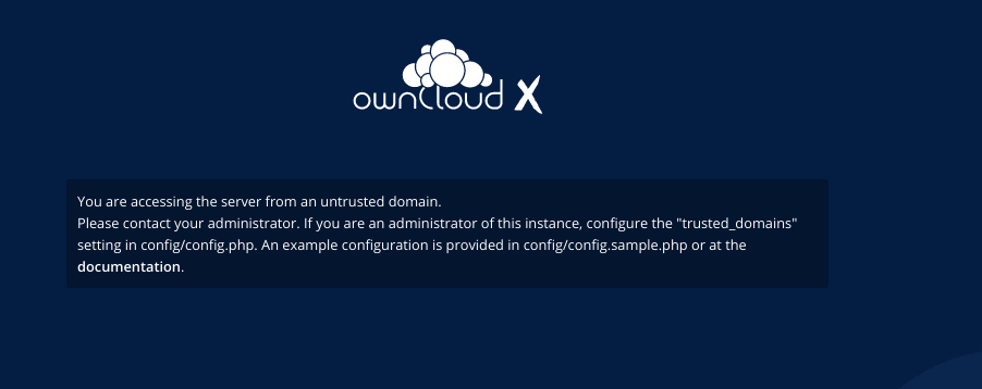 owncloud warning untrusted domain