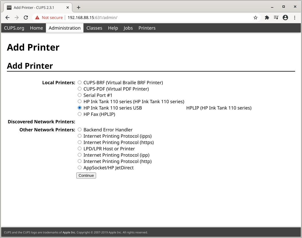 HP Inktank 110 series detected