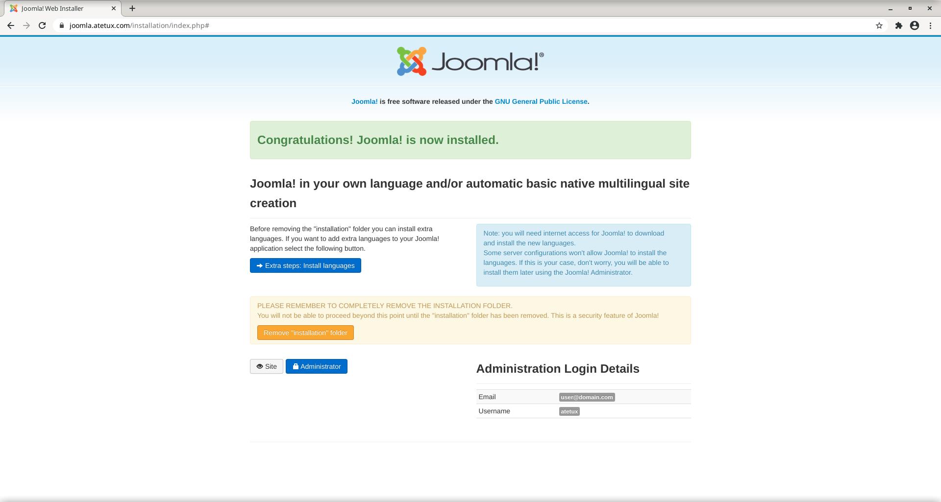 joomla instalation done