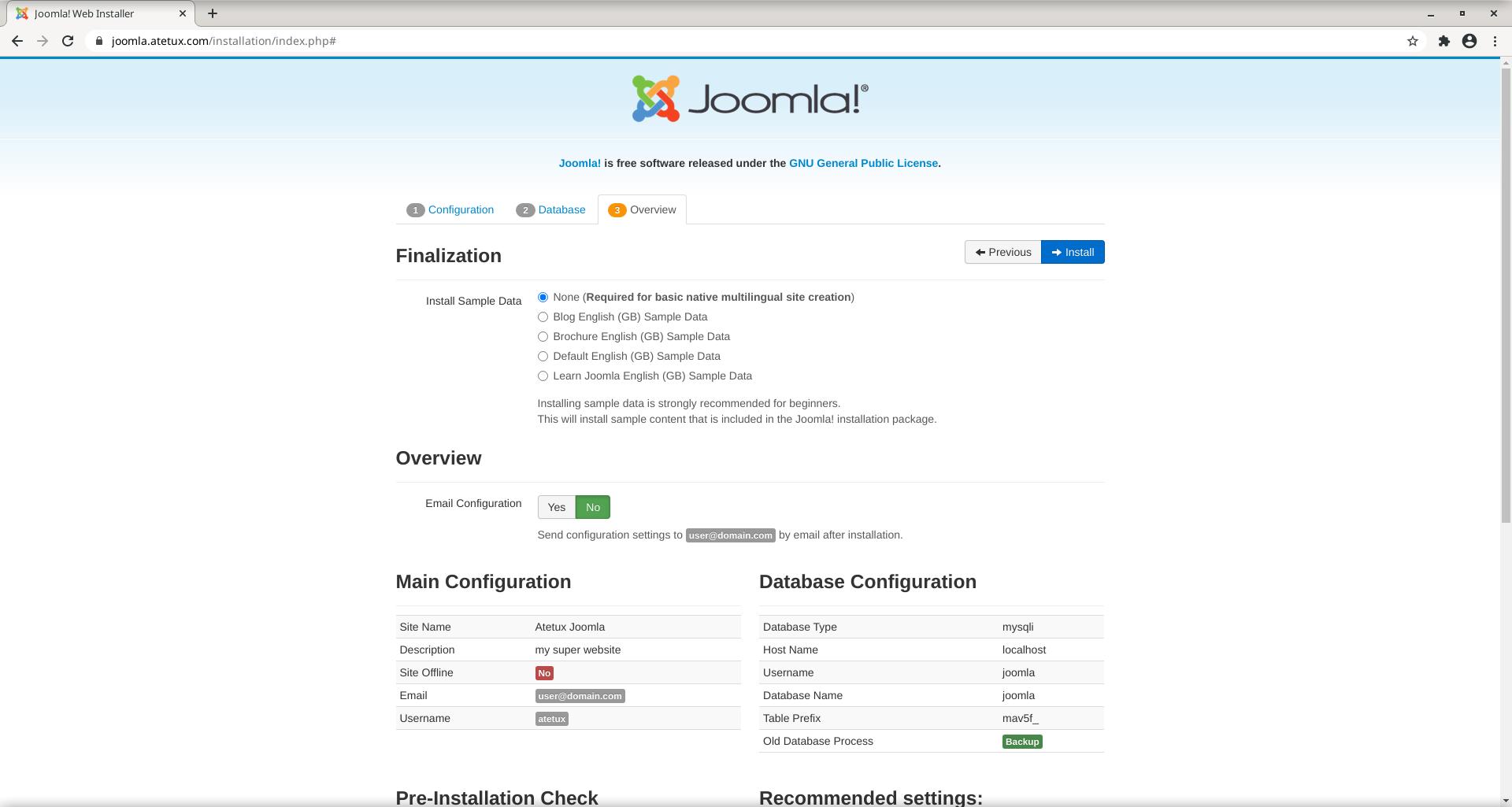 joomla overview instalation