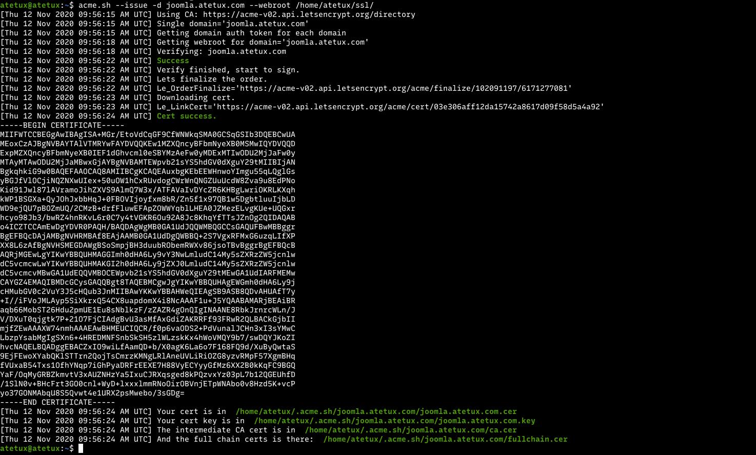 joomla ssl generated