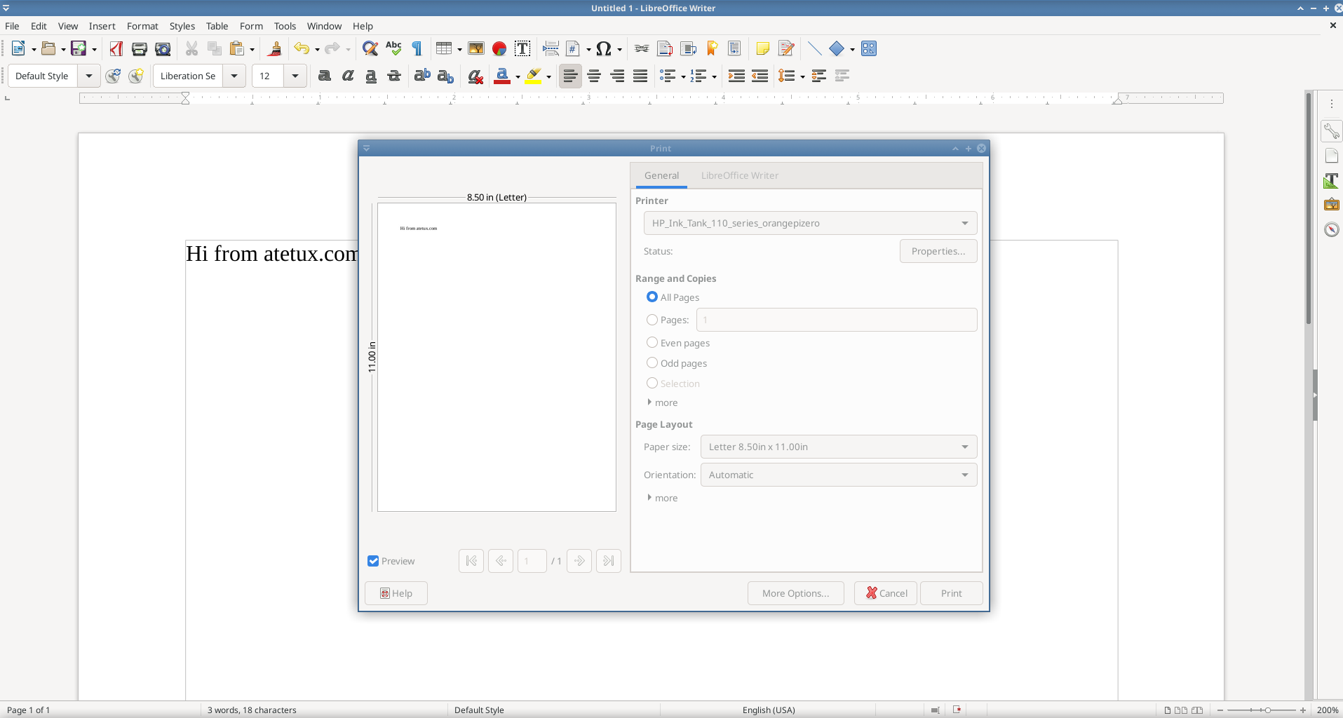 printing from LibreOffice writer